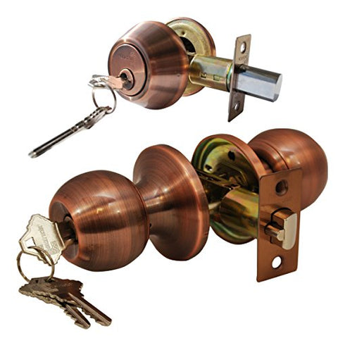 Constructor Chronos Combo Entry And Deadbolt Double Cylinder Keyed-Alike Antique Copper Finish Door Lever Lock Set Knob Handle Set