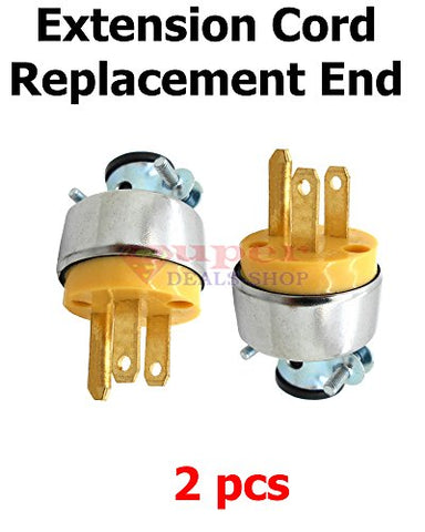 2 Pieces Male Plug Replacement Male Extension Cord Replacement End Electrical Wire Repair Replacement Plug End Set Super-Deals-Shop