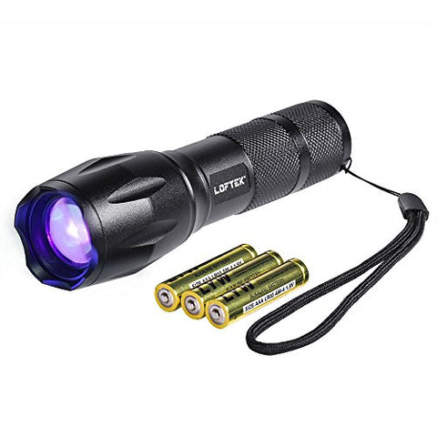 Loftek Adjustable Focus Pocket-Sized 395 Nm Ultra Violet Uv Flashlight, Pet Urine & Stain Detector, 3Xaaa Batteries Included
