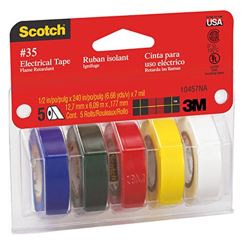 Scotch(R) 10457Ds Electrical Tape, 1/2 X 240-Inch, 5/Pack, 1 Of Each Color: Blue, Green, Red, Yellow, White, 10 Packper Case,