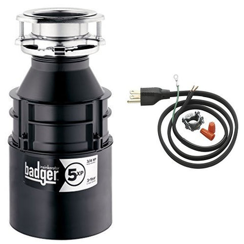 Insinkerator Badger 5Xp 3/4 Hp Household Garbage Disposer And Power Cord Kit Bundle