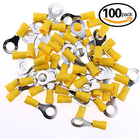 Hilitchi 100Pcs 12-10Awg Insulated Terminals Ring Electrical Wire Crimp Connectors (Yellow - M8) (Yellow - M8)
