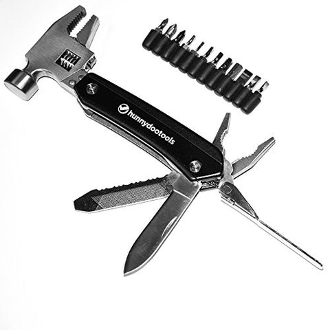 Hunnydootools Adjustable Multitool Hammer With 12 Screw Driver Bits And Sheath