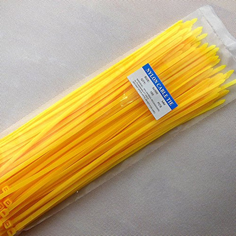 12 Heavy Duty Self Locking Nylon Cable Zip Ties,100 Pcs (Yellow)