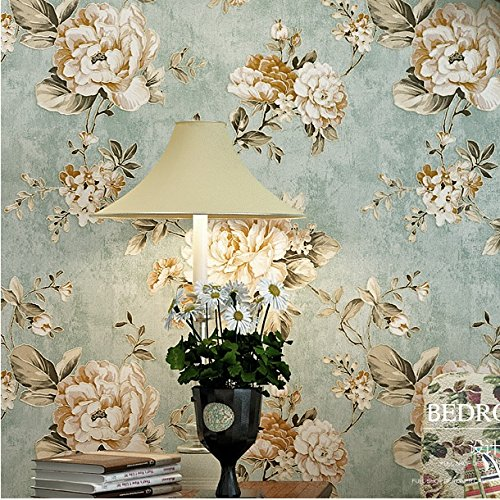 Haokhome Dr3073 Non Woven Vintage Flower Wallpaper Blue Home Bedroom Wallpaper 20.8 X 393.7