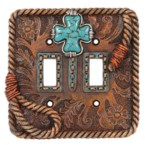 Turquoise Cross Double Switch Plate