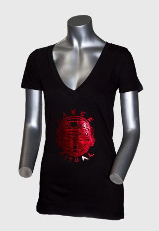 DANCE RITUAL RED FOIL WOMEN'S V-NECK WHITE/BLACK SHIRT