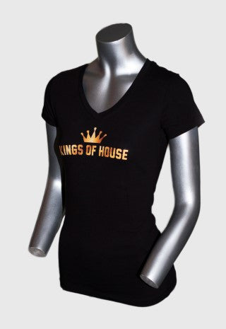 KINGS OF HOUSE WOMEN'S V-NECK BLACK T-SHIRT