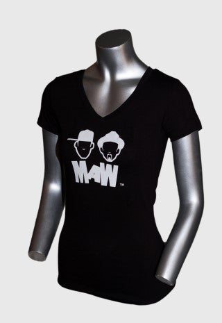 MAW WOMEN'S V-NECK BLACK SHIRT