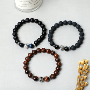 Rock ball bracelets (10mm Lava, Wooden, Gemstone beads )