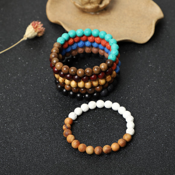 Lava Rock with Wooden beads Bracelets