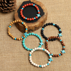 Lava Rock & Wooden Bracelets (8mm beads)