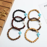 Cross with wooden beads bracelets ( 8mm wooden beads)