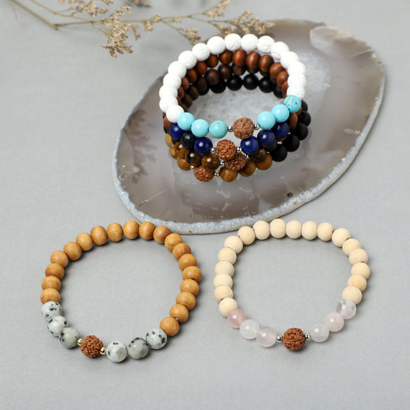 Rudraksha Bracelets (8mm wooden,Lava, Gemstone beads)
