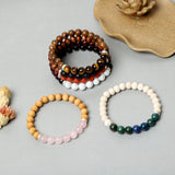 Gemstone with Wooden beads bracelets ( 8mm Gemstones, Wooden beads)