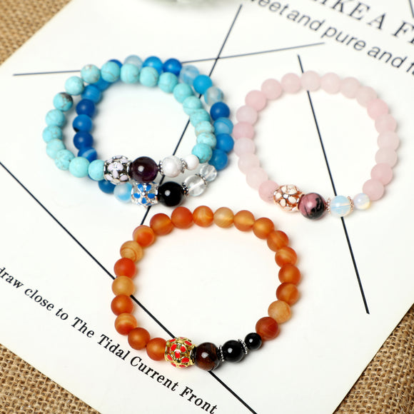 Flower Bracelets (8mm Gemstone beads)