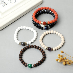 Lava Rock , Wooden beads Bracelets (8mm Lava Rock, Wooden , Hematite Beads)