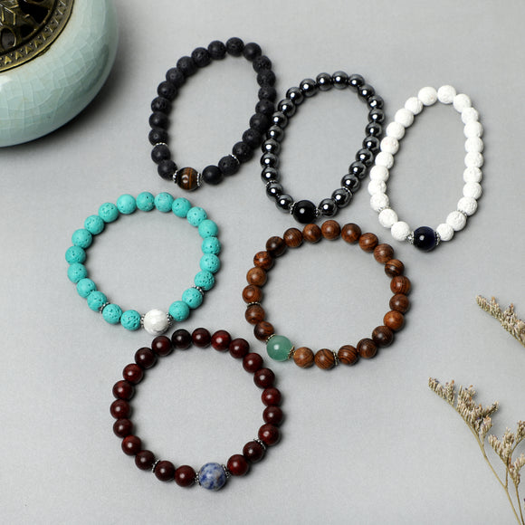 Hot sell Bracelets ( 8mm Wooden, Lava Rock, Gemstone beads )