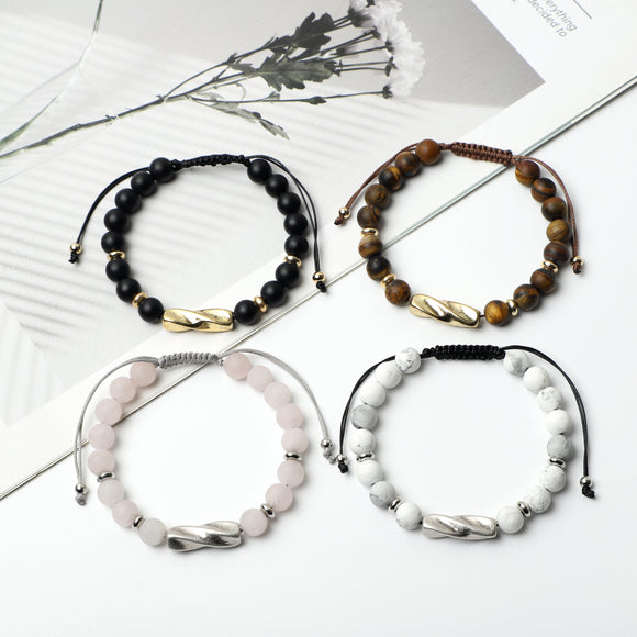 Frosted Gemstone Bracelets  ( 8mm gemstone beads)