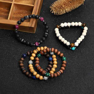 Wooden and Lava Rock Beads Bracelets (12pcs/bag; 8mm beads)