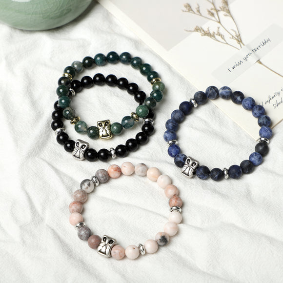 OWL Bracelets (8mm Gemstone beads )