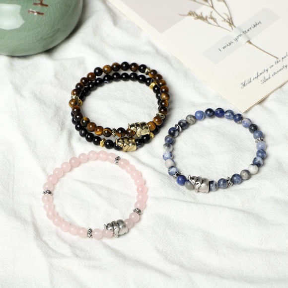 Elephant Bracelets (6mm gemstone beads)