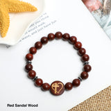 """Cross with Heart"" Symbol Bracelet ( 8mm Lava Rock, Wooden beads)"