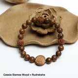 """LOTUS"" Bracelet,  ( 8mm Lava Rock, Wooden beads)"