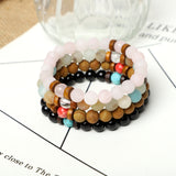 Lava, Gemstone and Wood Bracelets  (8mm Lava Wooden , gemstone beads)