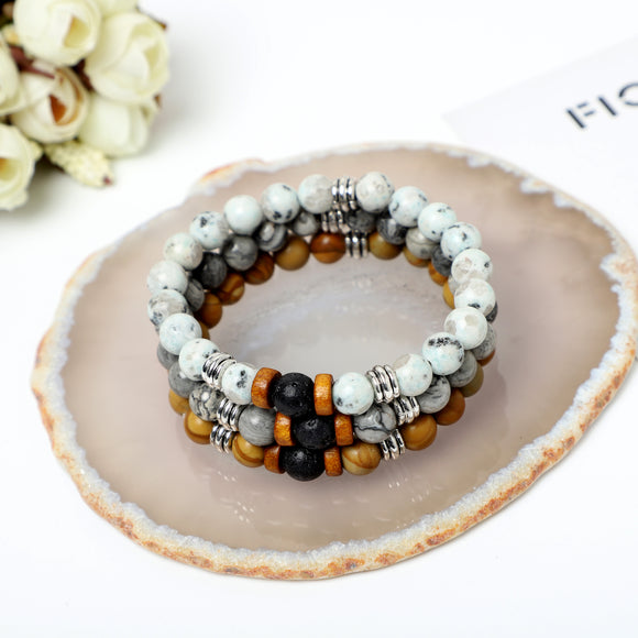 Gemstone Bracelet ( 8mm Lava Rock, Gemstone beads)
