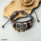Leather Bracelets  (8mm Lava Rock , gemstone beads)