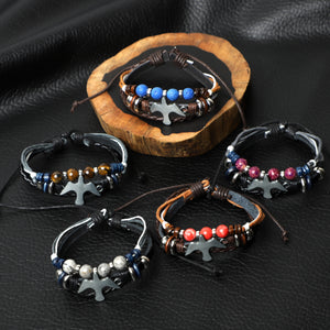 """Peace Dove""Leather Bracelets  (8mm Lava Rock  beads)"