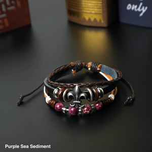 """Fleur De Lis"" Leather Bracelets  (8mm Lava Rock  beads)"