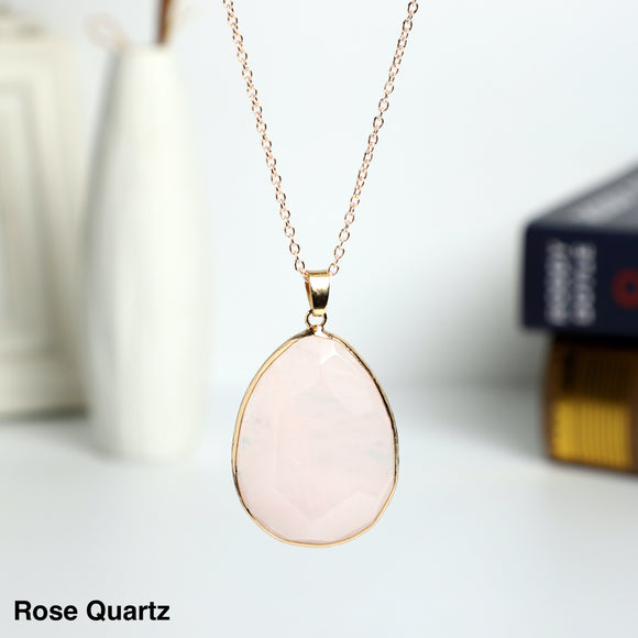 Rose Quartz Pear Shaped Necklace Pendant
