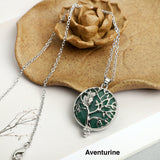 Owl with tree of life Stone Necklace Pendant