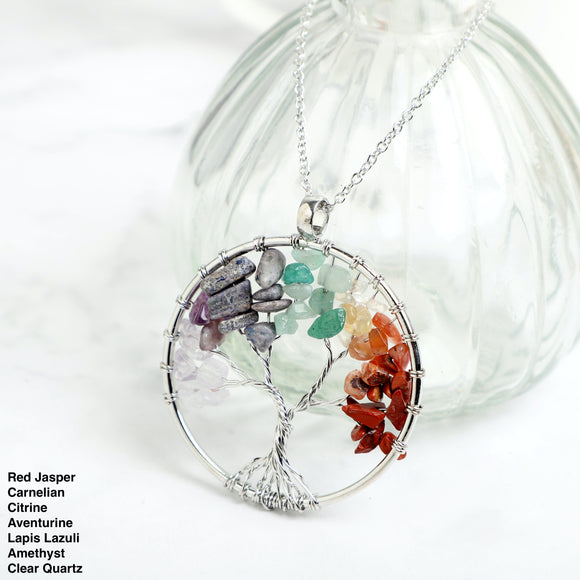 Seven Chakras Tree of life Chips Stone Necklace