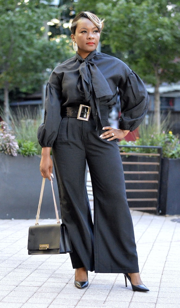 Strut High Waisted Wide Leg Trouser- Black