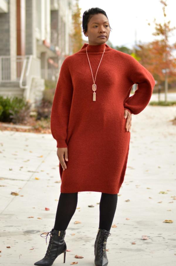 Burgandy Oversized Sweater Dress