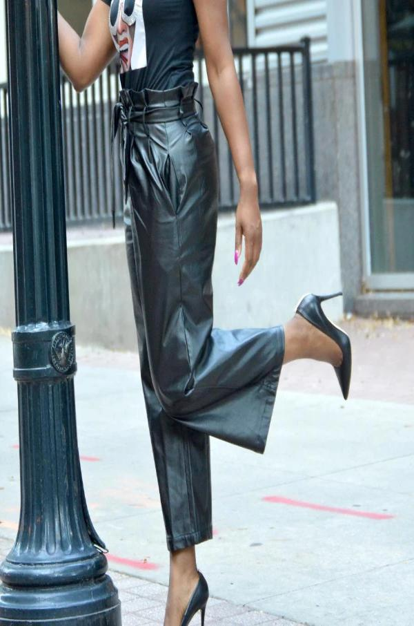 Faux Leather Paperbag Pants- Black RESTOCKED