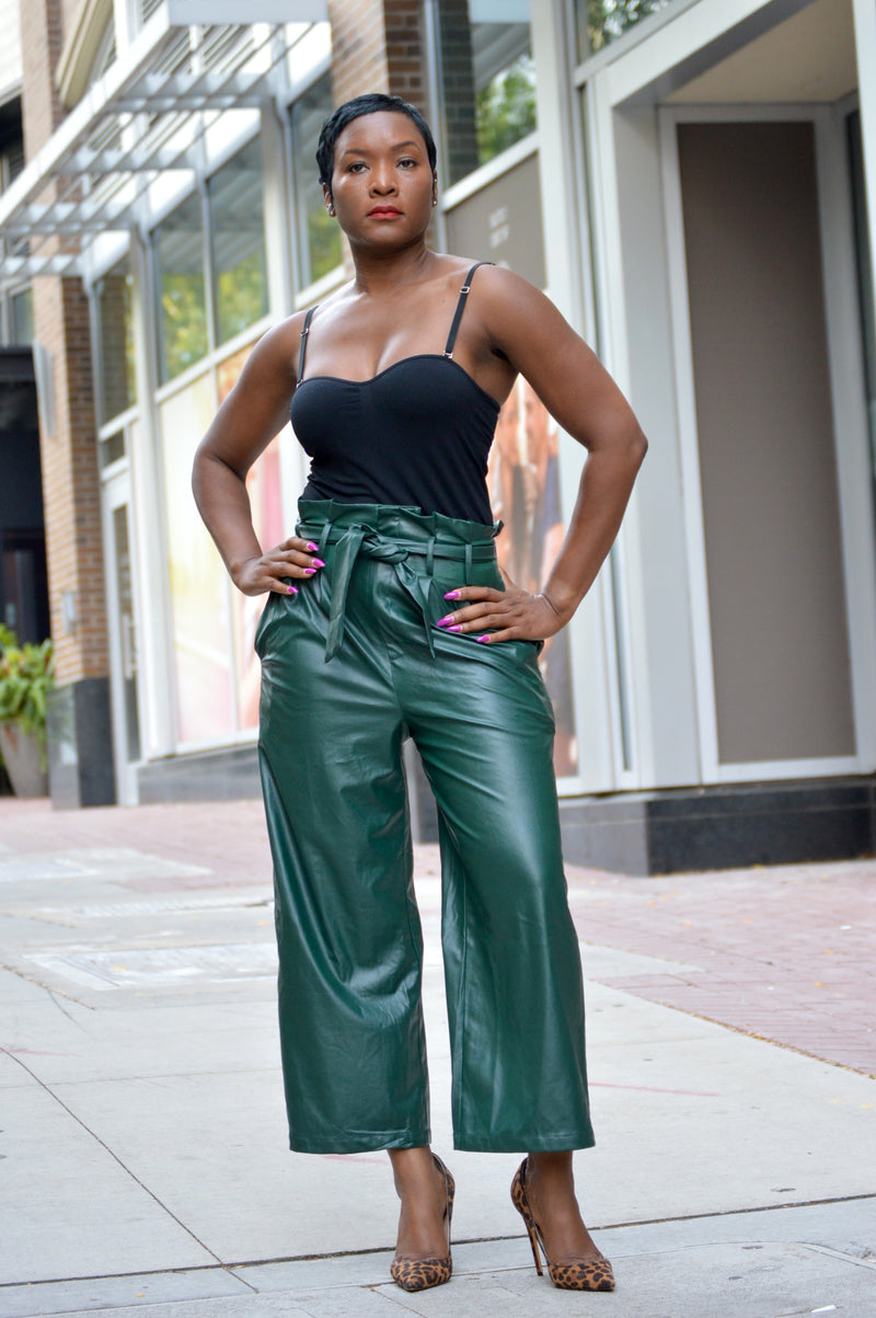 Hunter Green Paperbag Faux Leather Pants