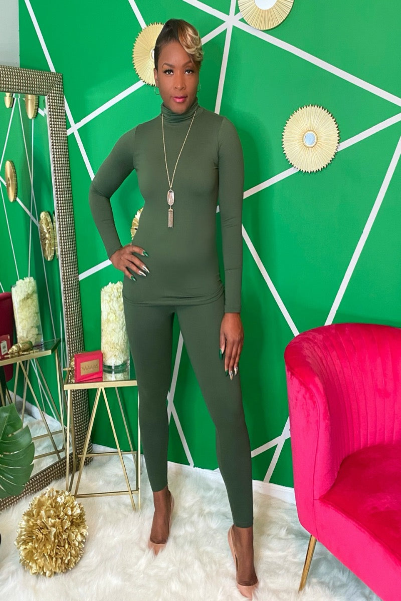 Olive Mock Neck Legging Set