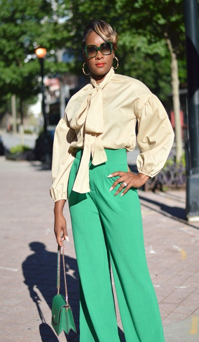 Strut High Waisted Wide Leg Trouser- Kelly Green