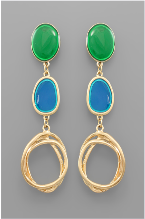 Green, Blue, Gold Disco Earrings