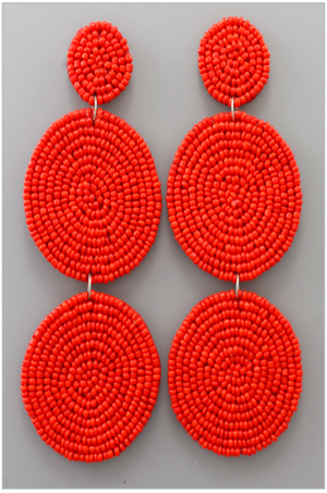 Red Beaded 3 Tiered Drop Earrings