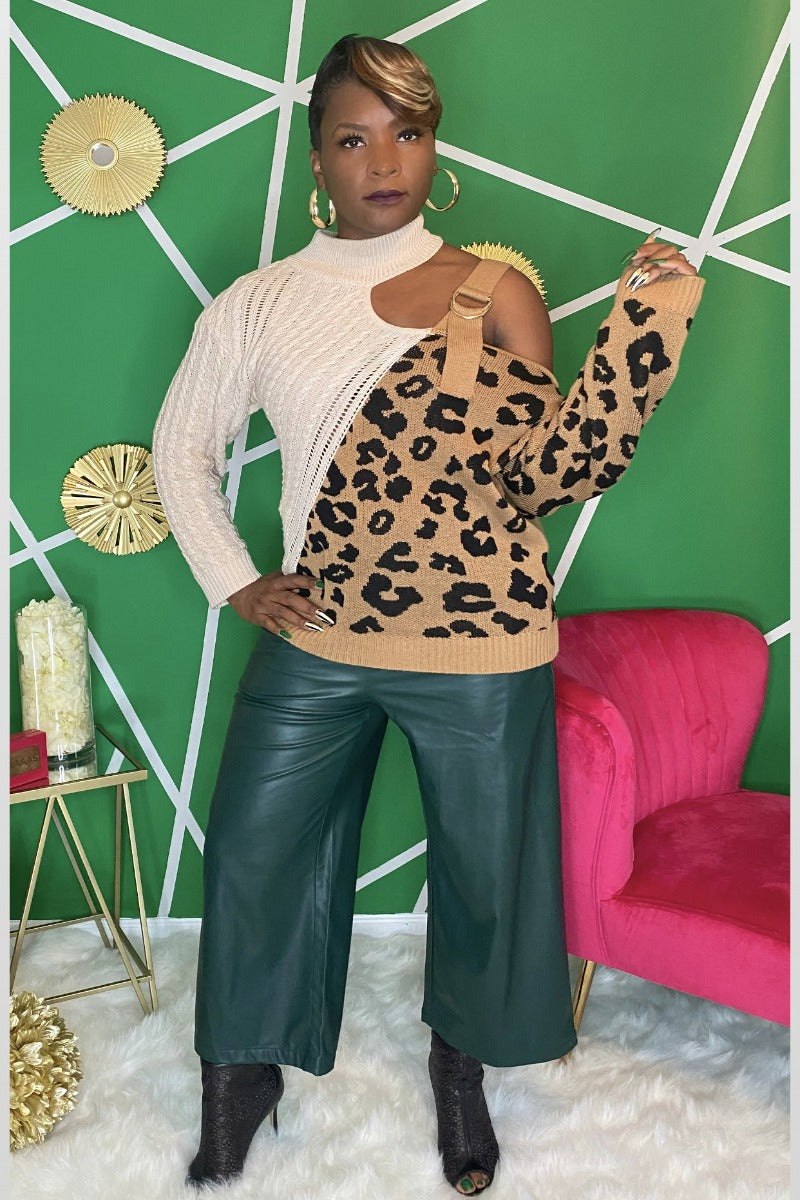 Cheetah Print Cut Out Sweater