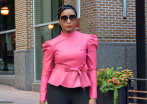 Pink Puff Faux Leather Top