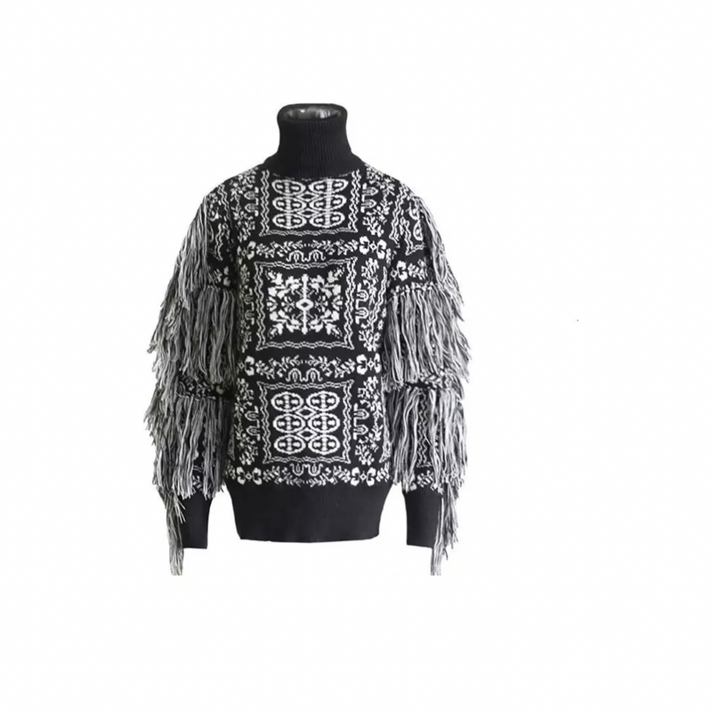 Black and White Fringe Sleeve Sweater. PREORDER SHIPPING 11/25