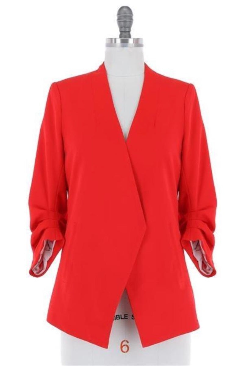 Candy Apple Red Ruched Sleeve Blazer