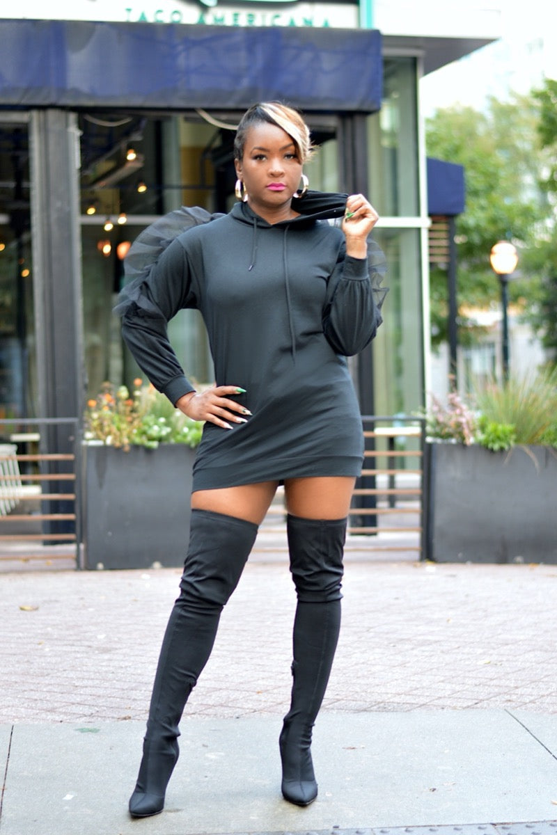 Black Hooded Shirt Dress