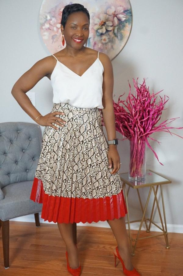 Boss Lady Two Toned Snakeskin Pleated Midi Skirt